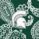 Dk Green/White Bandana with Michigan State University Logo