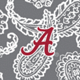 Gray/White Bandana with The University of Alabama Logo